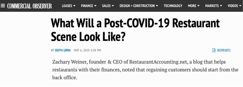 Commercial Observer featuring Zachary Weiner RestaurantAccounting.net blog